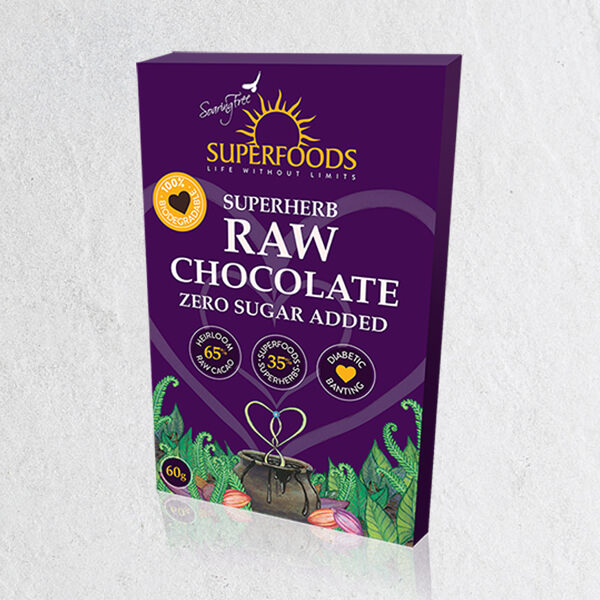 Superherb Chocolate Bar, Superherb Zero Raw Chocolate Bar 50g