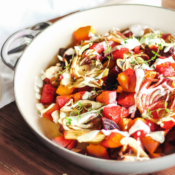 Honey Roasted Root Veg with Hemp-Tahini Sauce