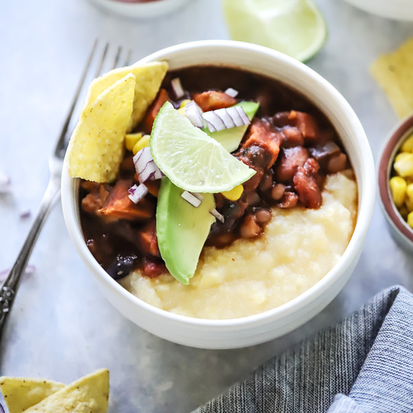Cacao Bean Chilli with Cheesy Polenta